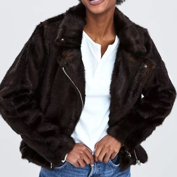 53bfd5b5 Zara Faux Fur Moto Jacket in Chocolate NWT